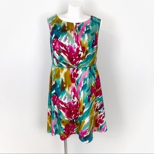 Adrianna Papell 14W Sleeveless Floral A-Line Dress